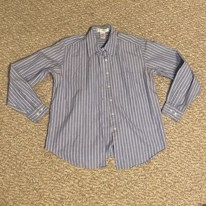Geoffrey Beene sport blue and white striped shirt